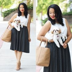 The drape of this skirt, the subtle crop top, the adorable pup... what's not to love about Audrey W.'s pic?