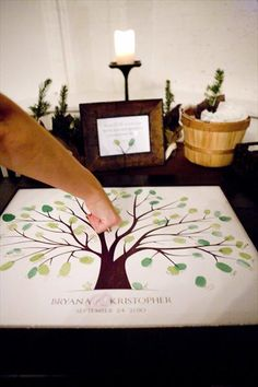 Guests put a thumb print on the tree and sign their name next to it. -- I love this idea for a family reunion.