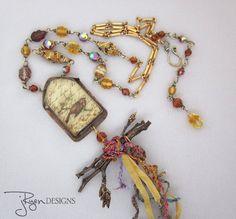 Handmade Artisan Soldered Bird House Necklace by jryendesigns