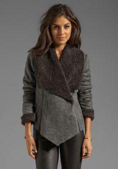 BB DAKOTA Gillian Faux Fur/Suede Jacket in Charcoal