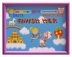 Rainbow Bright vs. Strawberry Shortcake fighting like Mortal Combat!!! In cross-stitch!!!