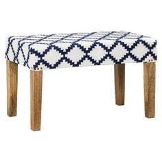 Threshold™ Woven Wood Bench - Navy/Cream
