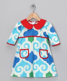 Take a look at this Turquoise & White School Girl Dress - Infant, Toddler & Girls by Paulina Quintana on #zulily today!