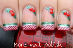 More Nail Polish: Candy stripes and holly