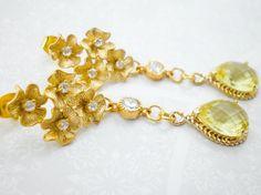 Freesia Yellow Gold Flower Dangle Earrings, Cubic Zirconia Earrings, Flower Cluster Earrings, Bride Earrings, Wedding Earrings, Inv102 on Etsy, $69.00