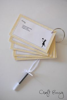 Free Printable house cleaning cards for each day of the week. I love check lists, maybe this would keep me more accountable for cleaning our home.