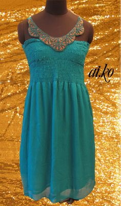 Ring in the PARTY season, Christmas/ New Years Eve 2012/13 by dazzling in this RAVISHING TEAL Green Ruched Silk Chiffon dress with an Attached Necklace Embroidery in Ribbonwork    ai.ko by Aarti Kalro   email:  designbyaiko@gmail.com