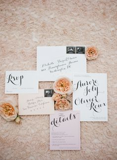 Wedding invitations with beautiful calligraphy