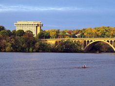 Views of the Potomac, Georgetown, and DC are the highlights at this Arlington hotel. arlington hotelth, highlight