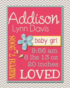 Baby Girl Birth Stats Printable Subway Art. $10.00, via Etsy.