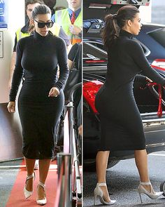 Kim Kardashian in Balenciaga's d'Orsay pumps, a fitted black turtleneck dress by Rick Owens, and black sunglasses by Celine.