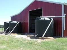 This is (3) Poly-Mart 2500 Gallon Rain harvesting tanks collecting #rainwater off of a large barn. Believe it or not, only 2 inches of rain will fill these up!