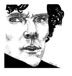 Sherlock Holmes bbc Pen and ink marker Sketch by SarahJaneMakes, €42.00