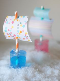3 Cool Ice Crafts including an ice cube boat for these crazy cold days!