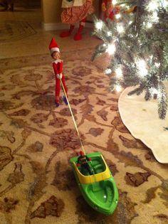 Elf on the shelf rug skiing - love it