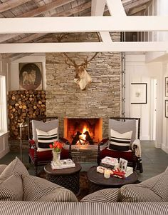 House Beautiful chair, houses, living rooms, wood storage, cabins, cottages, california living, live room, stone fireplaces