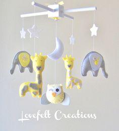 Baby mobile - Custom baby mobile - Elephant Mobile - Giraffe  Mobile - Owl Mobile. $95.00, via Etsy.