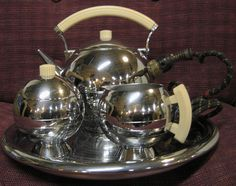 Deco Tea Set by Chase made of chrome and by EclecticCollectibles, $250.00
