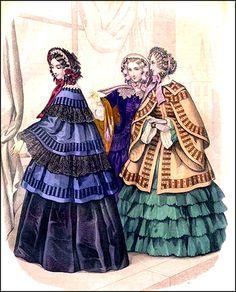 Fashions of 1853: Flounced skirts, cape-like jackets, and heavily trimmed bonnets.