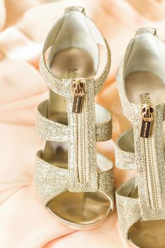 glittery wedding heels, photo by The Nolans http://ruffledblog.com/magnolia-hill-wedding #weddingshoes #shoes
