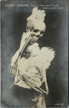 Don't swank.  Antique Skeleton Postcard, 1906-1910