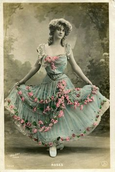 Vintage French hand tinted photo postcard - Lady with pink roses on her dress - Victorian Paper Ephemera