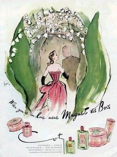 Styling Gardens by Coty Farquhar: Inspiration from the garden, beautiful vintage perfume advertising.  Lily of the Valley perfume was wonderful!