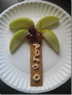 classroom, idea, tree snack, fun, alphabet snacks, food art, preschool, chicka chicka boom boom, kid