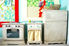 Repurposed kid kitchen, dramatic play, old furniture, old dressers, playkitchen, playroom, hous, play kitchens, diy play