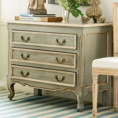Wisteria - Painted Furniture - Chests - French Country Chest - antiqued in a lovely sage blue-gray, trimmed in cream