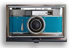 Awesome retro camera business card case.
