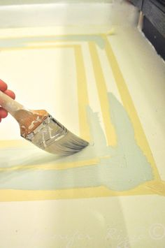 How to paint a taped out rug on your wood floor