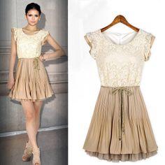 Fashion princess dress lace chiffon skirt sleeveless / Color:Beige,Black / Size:S,M,L,XL / h113 $23.98