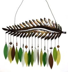 metal fern with glass chimes