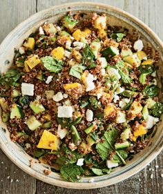 Yellow Squash and Red Quinoa Salad