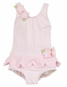 Florence Eiseman Girls Sweet Pastel Pink Striped Scallop Swimsuit