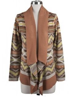"""CYBER MONDAY!! Get $15 OFF any purchase of $60 or more with code """"CYBERMONDAY"""" Aztec Print Cardigan in Deep Coral - $57.99 : FashionCupcake, Designer Clothing, Accessories, and Gifts"""