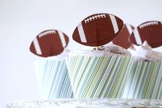 Football Cupcake Toppers and Wrappers