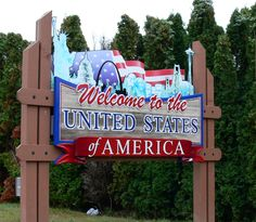 Welcome to the USA sign