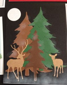 Christmas card using sizzix Christmas tree and skinny pine tree dies and deer trio die by impression obsession