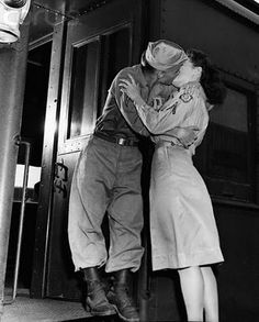 A passionate farewell. #couple #kissing #vintage #1940s #WW2