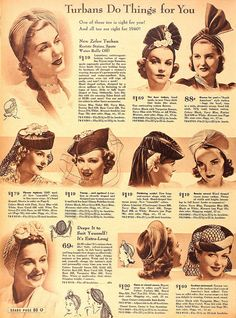 1940 - turbans and veiled hats