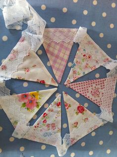 Shabby chic bunting with lace