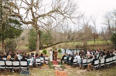 Outdoor ceremony with vintage rugs