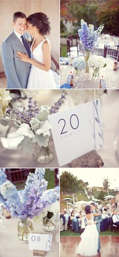 purple,periwinkle,soft grey, crisp white wedding colours <3 - I like the table cloth