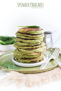 Spinach Blender Pancakes | chocolateandcarro...