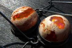 Fire Opal Earrings, BIG orange fire opal in matrix earrings by Beijo Flor $149