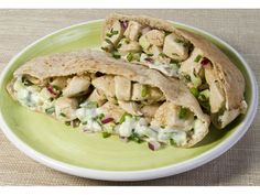 Danielle's Chicken Pita Sandwiches with wine vinegar, chives and yogurt.