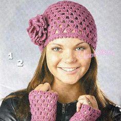 gorro mitones a crochet
