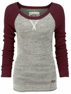 Beautiful thermal baseball sweater shirt sweaters, fashion, cloth, style, baseball shirts, basebal sweater, closet, sweater shirt, thermal basebal